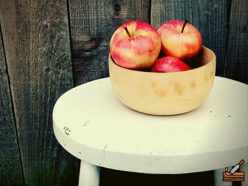 Hand Carved Bowl with Apples