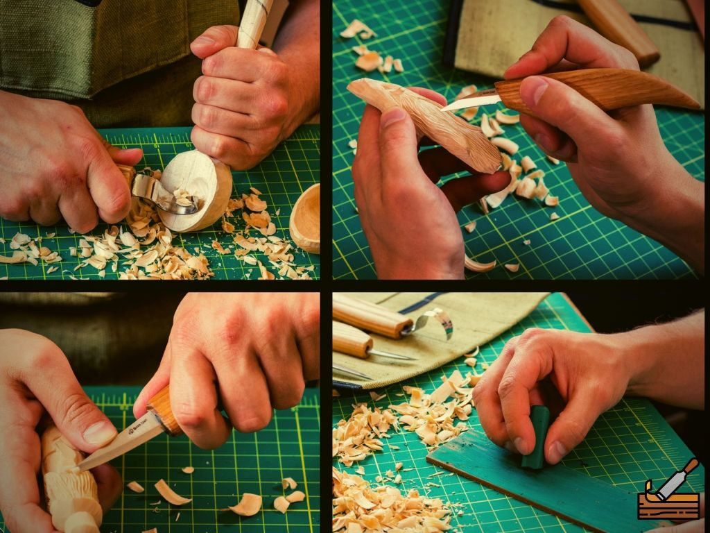 Whittling Tools different angles of use