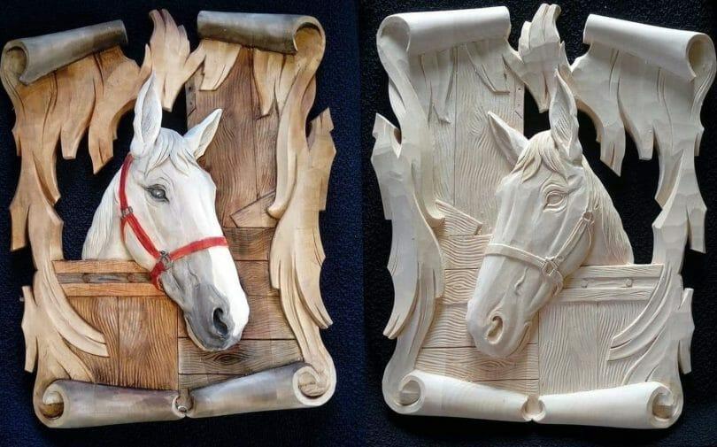 "Horse relief carving  Author - <a href=""https://www.instagram.com/rezbapol/"" rel=""nofollow"">Slawek Matwijchuk</a>"
