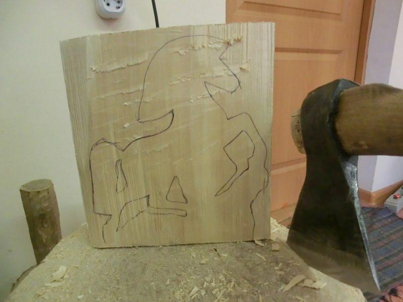 horse wood carving pattern step 1 #Junior Carver