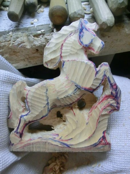 horse wood carving pattern step 3 #Middle Beginner Carver