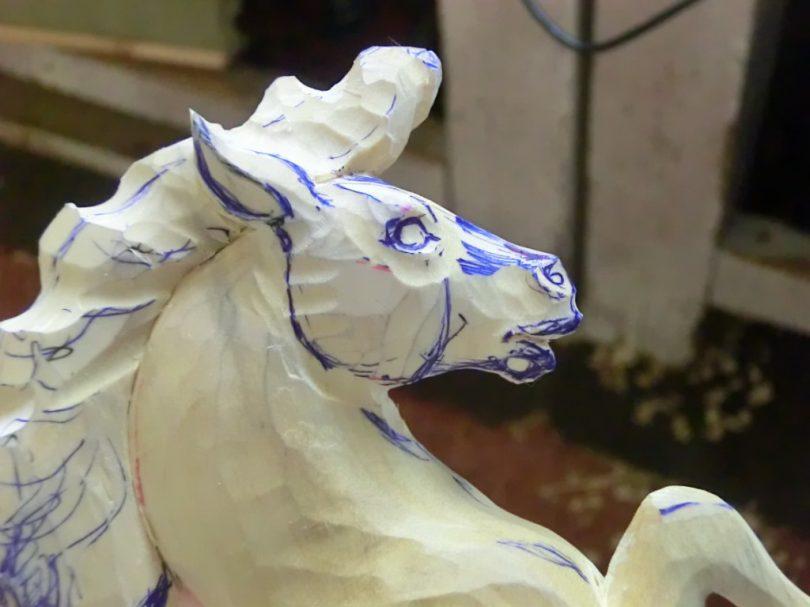 horse wood carving pattern step 5 #Advanced Beginner Carver