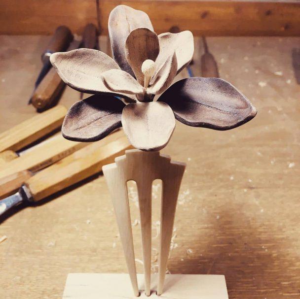 "Magnolia wood hairclip made of American walnut and hornbeam Author - <a href=""https://www.instagram.com/rahmaninworkshop/"" rel=""nofollow"">rahmaninworkshop</a>"