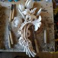 Bouquet of lilies carved out of wood