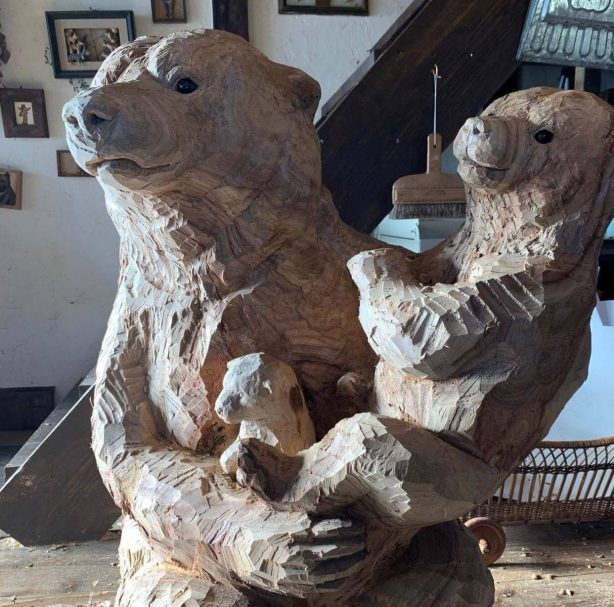 """Bear with a teddy bear in her arms Author - <a href=""""https://vk.com/artwoodbg"""" rel=""""nofollow"""">Art WoodCarving</a>"""