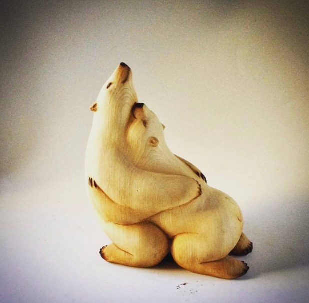 """Polar bears carving project Author - <a href=""""https://vk.com/artwoodbg"""" rel=""""nofollow"""">Art WoodCarving</a>"""