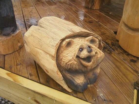 """Cute bear carved from a tree Author - <a href=""""https://vk.com/artwoodbg"""" rel=""""nofollow"""">Art WoodCarving</a>"""