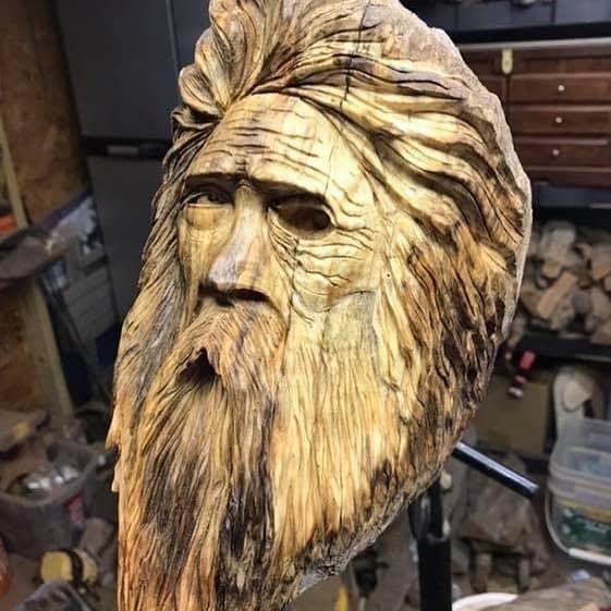 "an Odin Carving Author - <a href=""https://www.instagram.com/powersourcecreations/"" rel=""nofollow"">Stephen R. Hicks, Artist</a>"