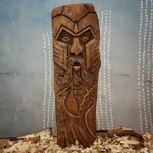 """Odin Sculpture Carved from Wood Author - <a href=""""https://www.instagram.com/theknottycarver/"""" rel=""""nofollow"""">The Knotty Carver</a>"""