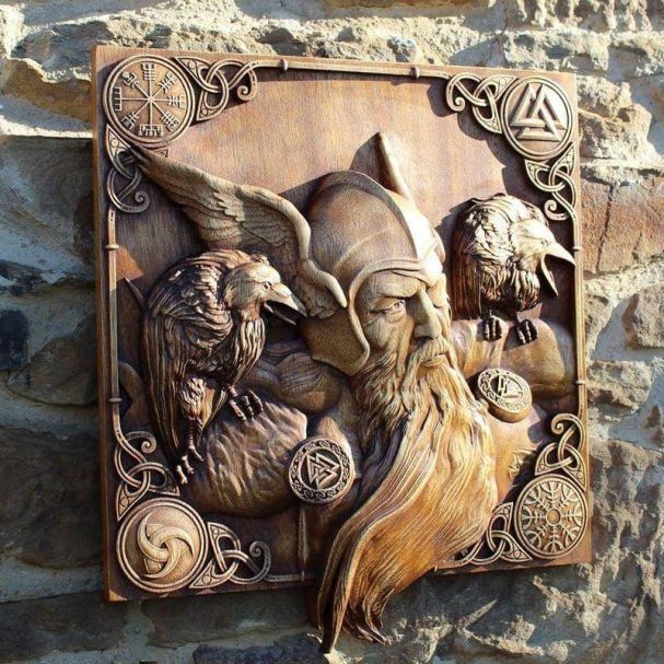 """Carved Wood Odin Art Author - <a href=""""https://sonsofvikings.com/"""" rel=""""nofollow"""">Sons of Vikings</a>"""
