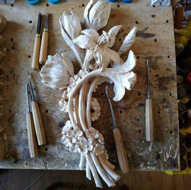 """Blumenstrauß aus Lilien aus Holz geschnitzt Author - <a href=""""https://vk.com/artwoodbg"""" rel=""""nofollow"""">Art WoodCarving</a>"""