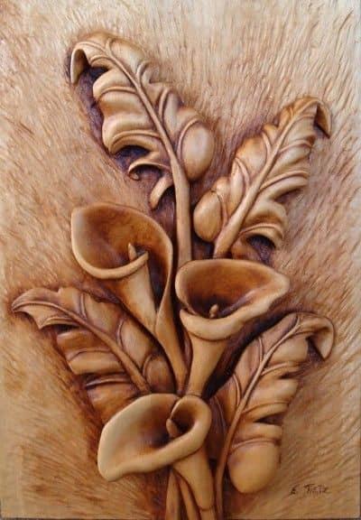 """Сalla Lilien Reliefschnitzerei Author - <a href=""""https://vk.com/rezba_nsk"""" rel=""""nofollow"""">Wood Sculptor</a>"""