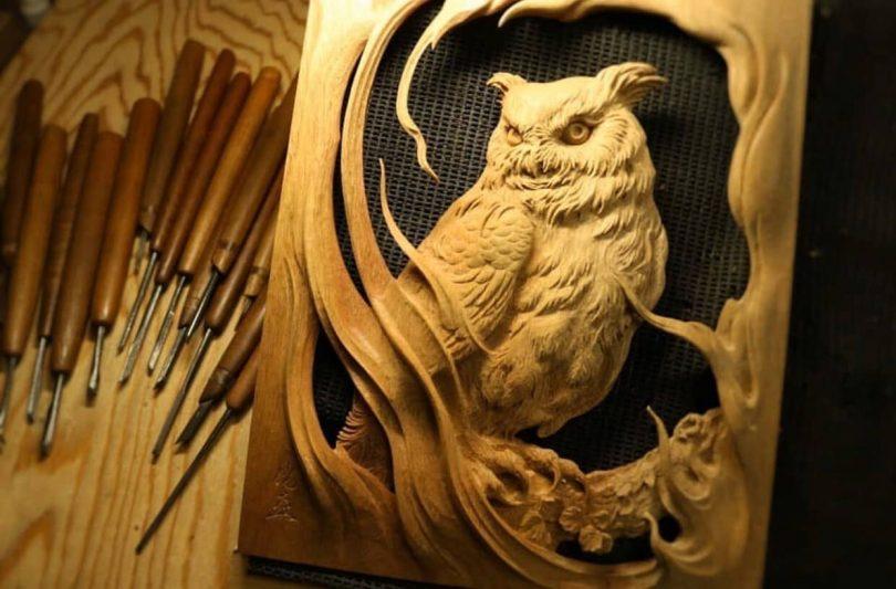 """Sowa - projekt rzeźby płaskorzeźbionej Author - <a href=""""https://vk.com/artwoodbg"""" rel=""""nofollow"""">Art WoodCarving</a>"""