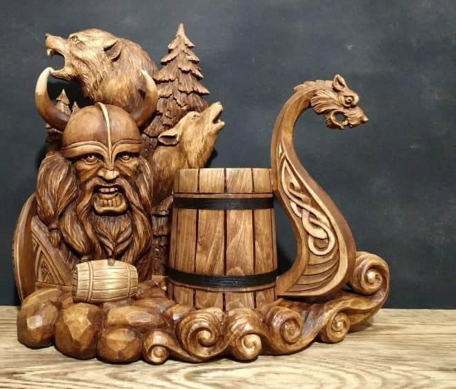 """Wikinger Holzschnitzerei Projekte Author - <a href=""""https://vk.com/rezba_nsk"""" rel=""""nofollow"""">Wood Sculptor</a>"""