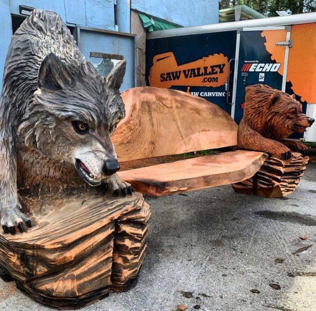 "Wilk rzeźbiony w drewnie Author - <a href=""https://vk.com/artwoodbg"" rel=""nofollow"">Art WoodCarving</a>"
