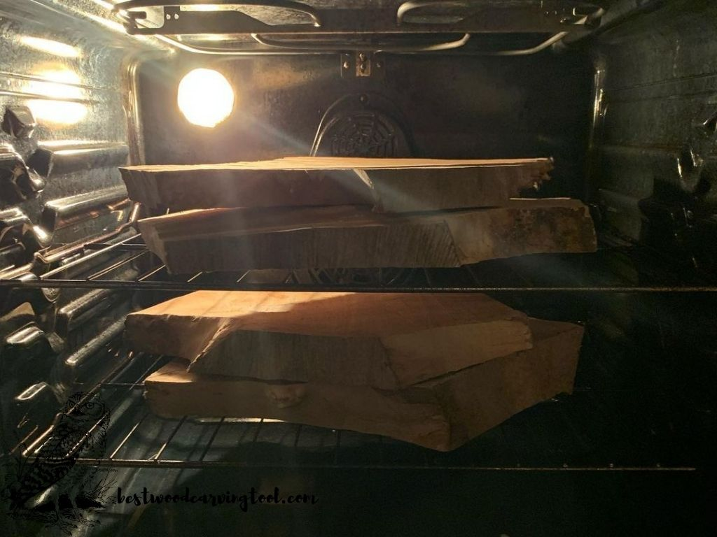 dry wood in an oven