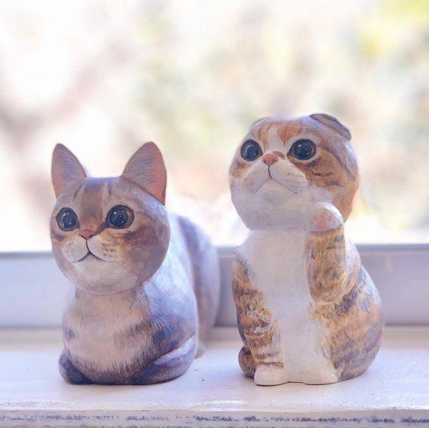 "Wooden miniature Cat Author - <a href=""https://www.instagram.com/marumaru5588/"" rel=""nofollow"">marumaruちゃん工房</a>"